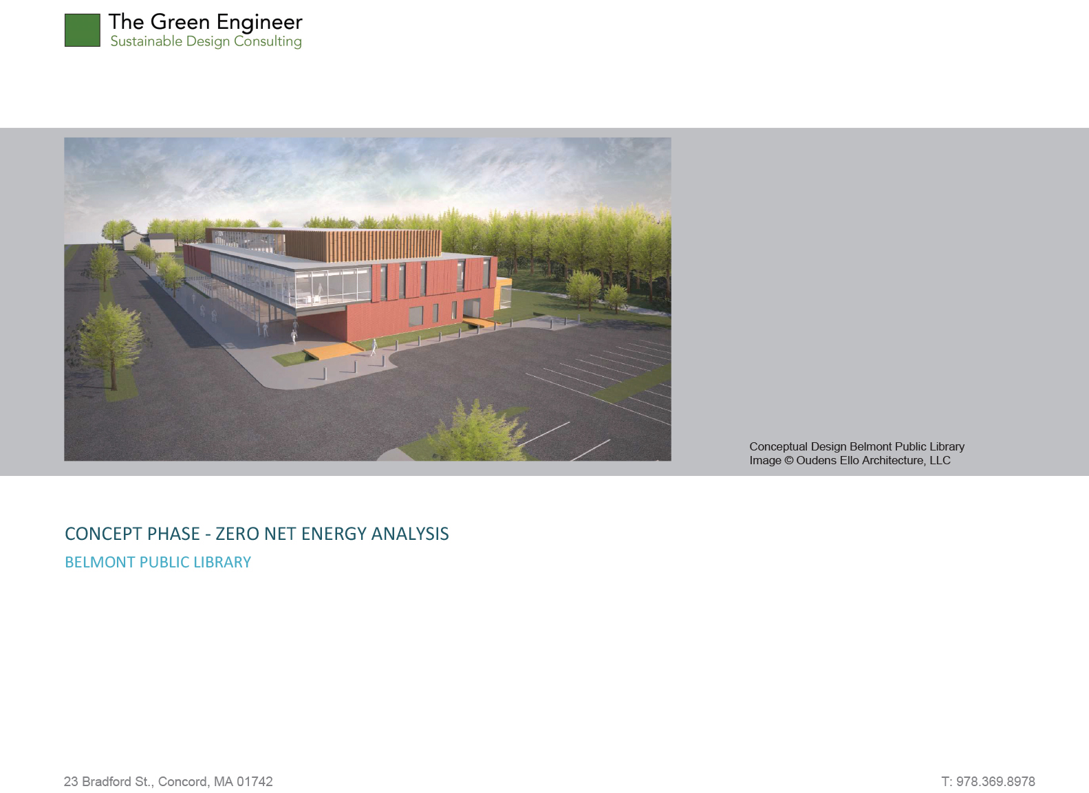 Belmont Library Project – Schematic Design Zero Net Energy Analysis Report